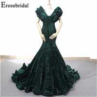 EroseBridal New Arrival 2019 V Neck Evening Dresses Mermaid Evening Gown Cap Sleeve Party Dress Custom Made Formal Women Dress