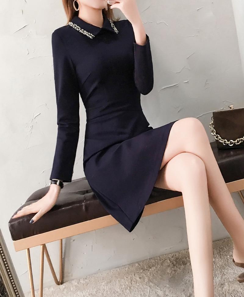 Z790 Baissez Parti De Lady Longues Mode À Femmes Coréenne Col Taille Blue Stickers Mi Robes Élégant Office Navy Courtes Manches Porte wqFUFZI