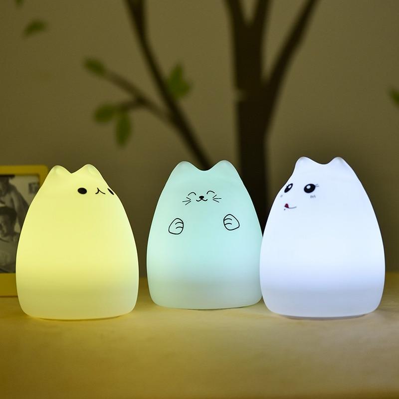 1 ST Bärbar parti LED-missfärgningsbelysning Mjuk silikon USB-laddning Tecknad Barn Djur Nattlampa Nursery Lamp inomhus