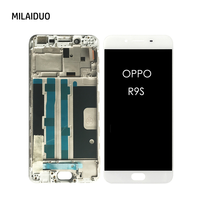 Black Color : White + Touch Panel with Frame LCD Screen Mobile Phone for Oppo R9s TFT