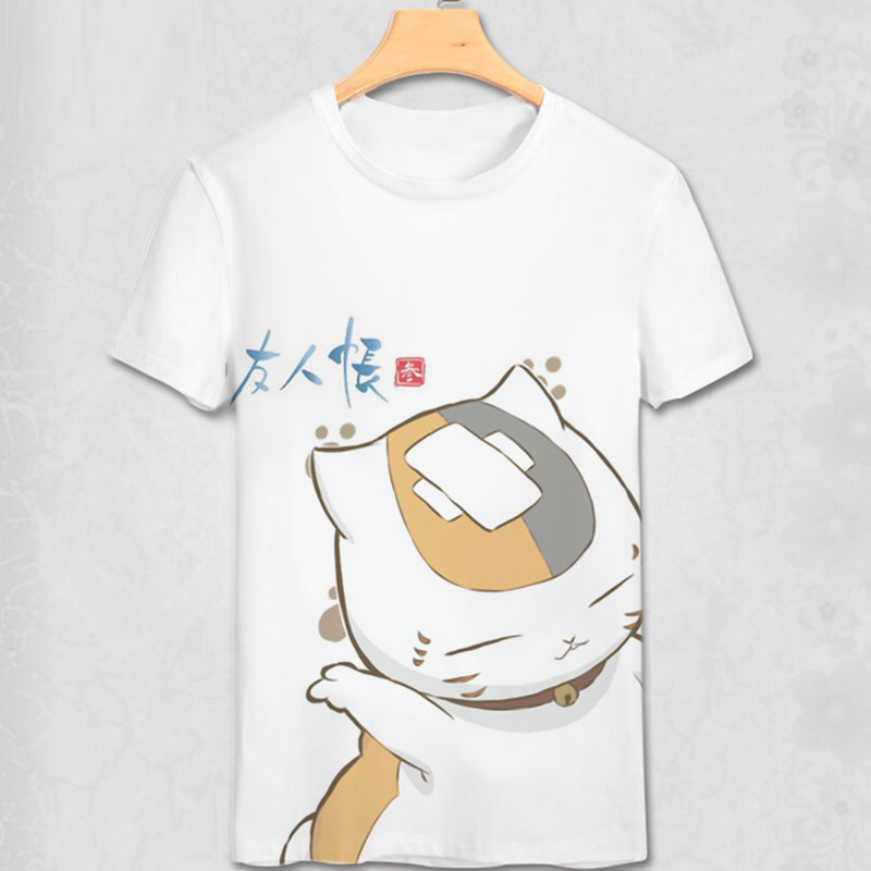 Japón Anime Cat profesor Natsume Yuujinchou natsume T Shirt Boys / men Cosplay Custom Cartoon T shirt Mujeres / niñas manga regalo