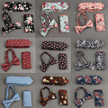 Mens Bowtie Hanky Tie Sets Cotton Floral Printing Necktie and Handkerchief Sets Casual Business Wedding Pocket Square Bow Tie