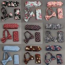 Herren Fliege Einstecktuch Binden Sets Baumwolle Blumendruck Krawatte und Taschentuch Sets Beiläufige Geschäfts Hochzeit Einstecktuch Fliege