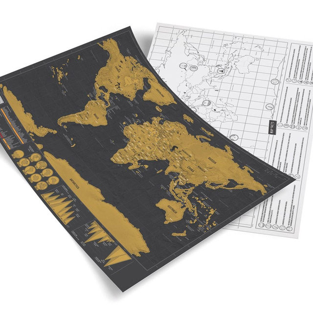 Online shop free shipping 1piece deluxe travel map with scrape off free shipping 1piece deluxe travel map with scrape off layer visual travel journal world map for educatioin 42297cm gumiabroncs Images