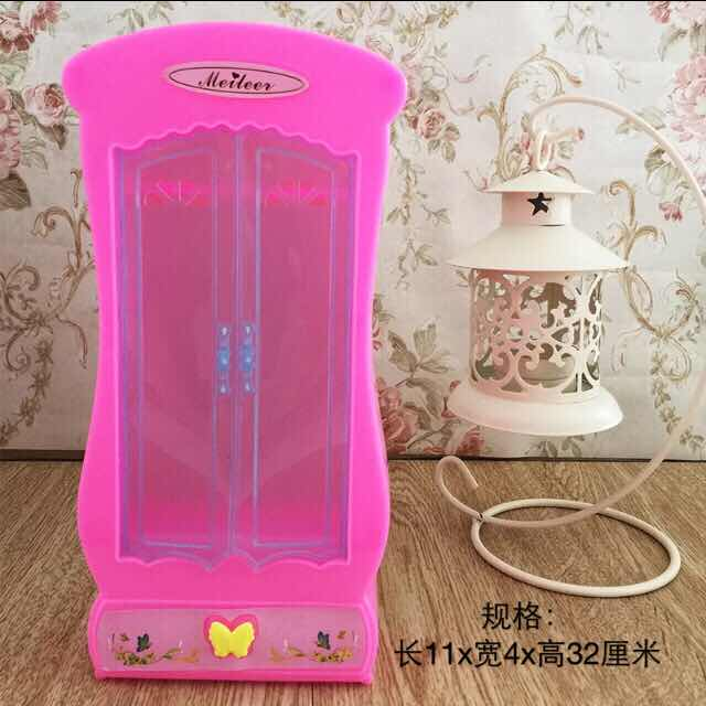 Pink Wardrobe Closet For Barbie Doll Princess Dreamhouse Furniture Bedroom Miniature