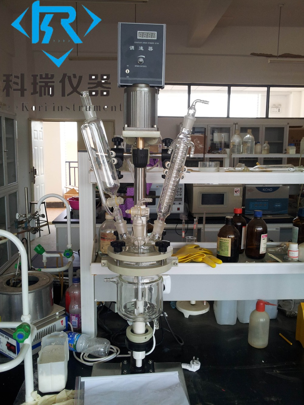 1L SF-1L China factory price for Jacketed Glass Reactor with mixer with condenser 10l batch glass reactor glass lined jacketed reactor vessel for chemicaland pharmaceuticals industry with condenser with ptfe