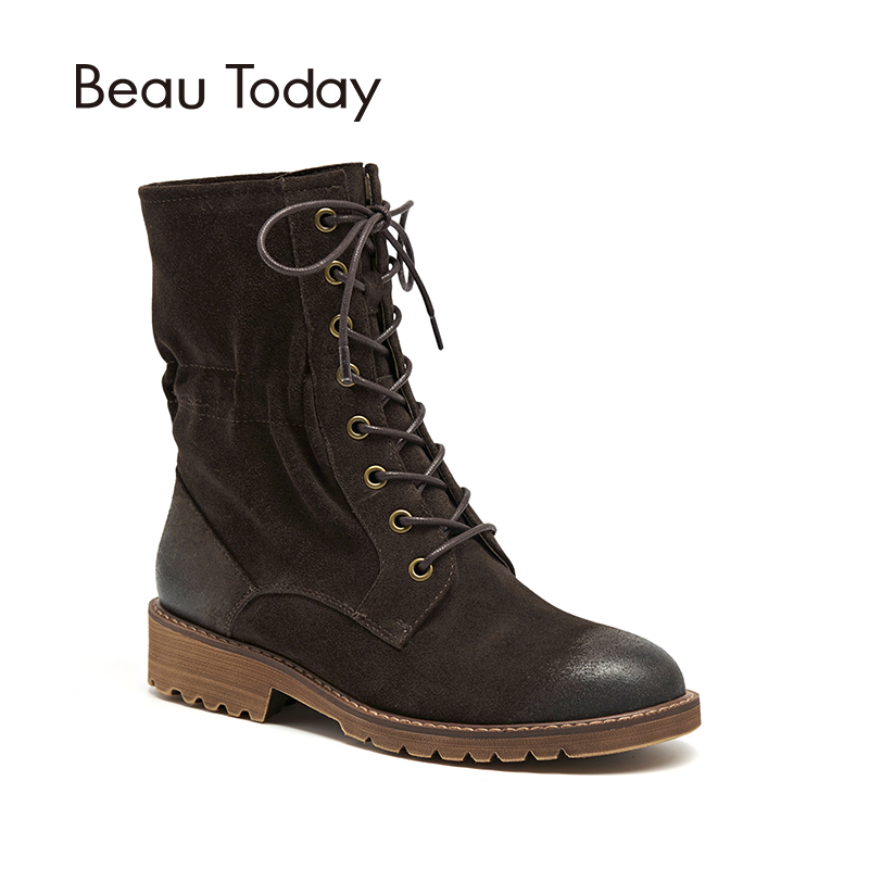 Women Mid-Calf Boots BeauToday Brand New Autumn Winter Cow Suede Genuine Leather Elastic Lace-Up Lady Shoes Handmade 02203 zorssar 2018 new fashion women martin boots cow suede comfort flats heel lace up mid calf boots autumn winter women shoes
