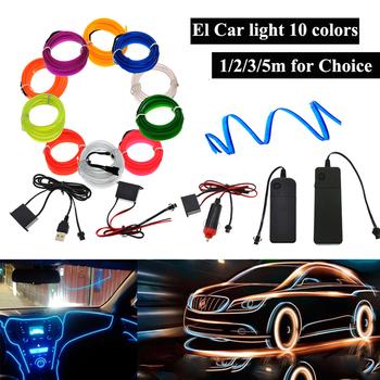 3 V 5 V 12 V podświetlany przewód z 6mm szycia krawędź led światło dekoracyjne samochodu Party samochodów drut światła Neon listwy led elastyczne światło 2 3MM rura linowa tanie i dobre opinie Apluses 50000 Epistar Neon Light Other SQUARE Przełącznik ROHS Mieszkanie 3-przewodowe