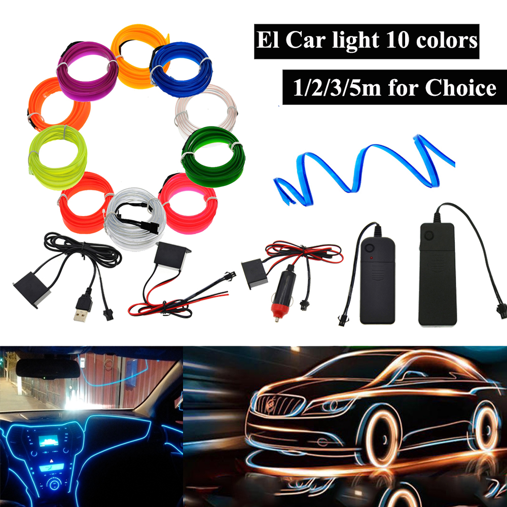 3V/5V/12V EL Wire With 6mm Sewing Edge Led Car Decor Light Party Car Wire Lights Neon LED Strips Flexible Light 2.3MM Rope Tube