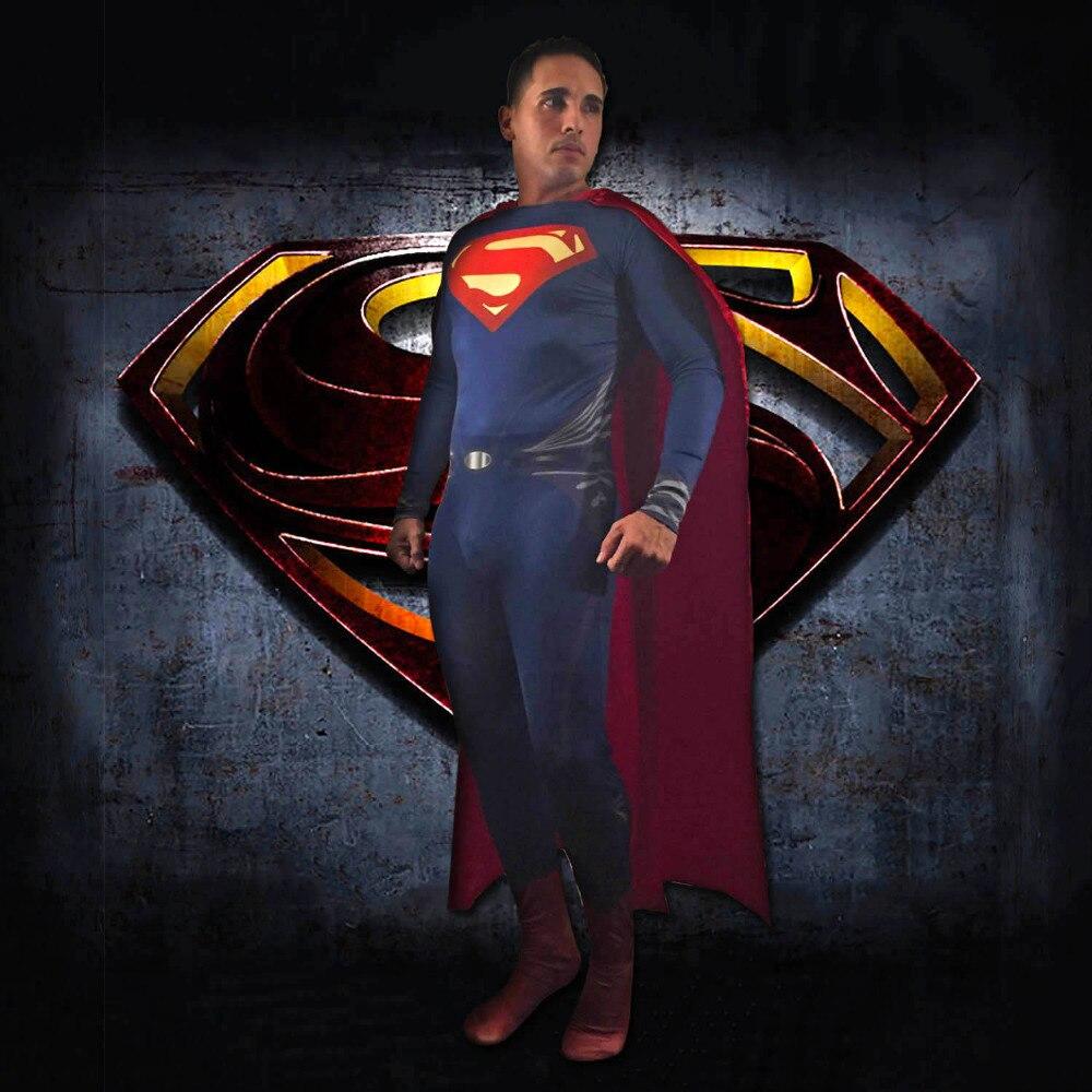 Costume adulte Superman Costume Zentai complet Costume de super-héros Lycra Spandex aube de la Justice Costume de luxe Superman Cosplay personnalisé
