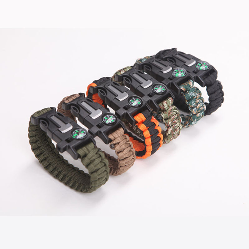 Safety Survival Paracord Bracelet Whistles Multi Functional Emergency Paracord Military Bracelet Compass Whistle Parachute Tools
