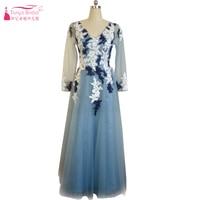 Navy Tulle Evening Dresses Long sleeve See Though Elegant Important Party Gowns Floor Length vintage Formal Vestido festa ZE006