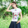 Chinese Clothing Store Ethnic Shirt 2017 Women Summer M 4xl Brand Short Sleeve Stand Collar Embroidery