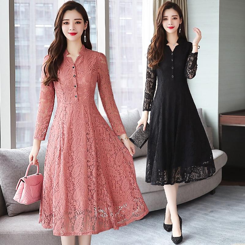2019 Autumn Winter New 4XL Plus Size Vintage Lace Midi Dresses Women Bodycon Korean Black Sexy Dress Long Sleeve Runway Vestidos