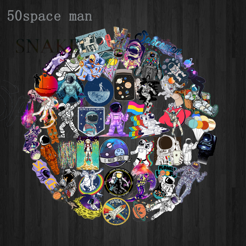 50pcs Outer Space Stickers Toys For Children Alien Ufo Astronaut Rocket Ship Planet Sticker To Scrapbooking Skateboard Laptop Selling Well All Over The World