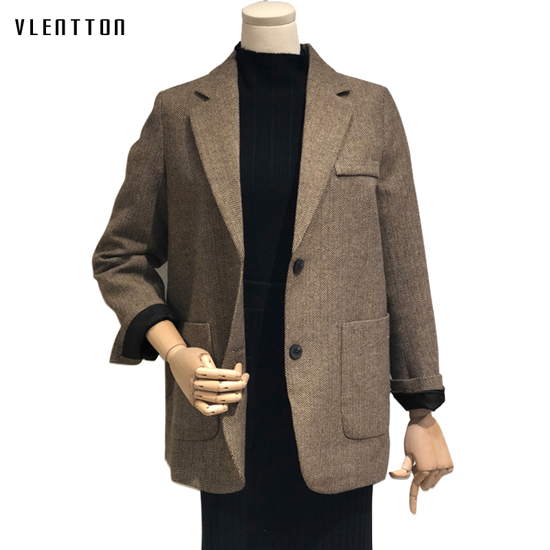 2019 Autumn Vintage Wool Plaid Office Blazer Women Single Breasted Korean Women's Jacket Blazers Coat Long Sleeve Female Outwear
