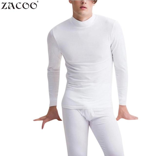 ZACOO stand neck White Men's long johns Thermal Underwears 2Pcs Solid Warm Thick Brushed Men Autumn Thermal Underwear Sets san0