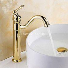 Поворотный носик водопроводной воды полированное золото Цвет латунь одной ручкой на одно отверстие Кухня раковина и Ванная комната кран бассейна смесителя anf214