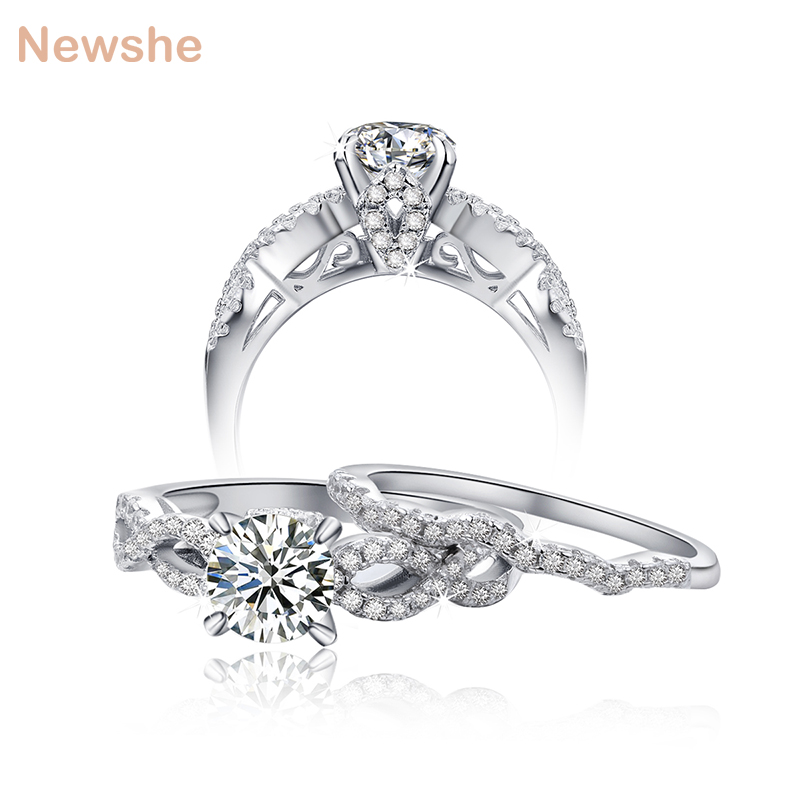 Newshe 925 Sterling Silver 2 Pcs Wedding Rings Bridal Sets 2 Carats AAA CZ Engagement Band Classic Design Jewelry For Women