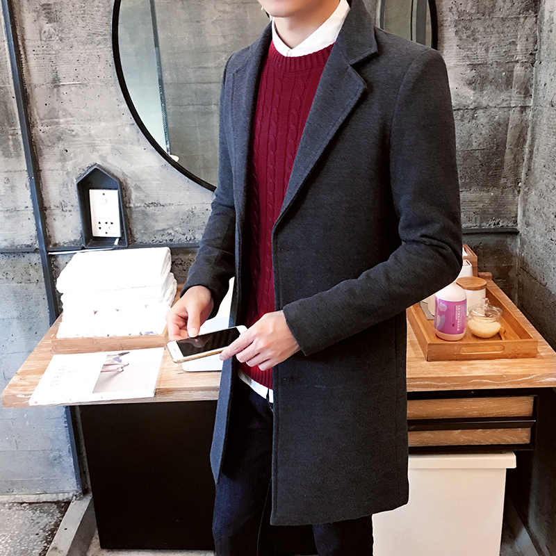 Новинка 2019, зимнее шерстяное пальто для мужчин, длинное шерстяное пальто для отдыха, мужские однотонные повседневные модные куртки/повседневные мужские пальто 3XL