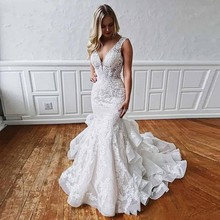 Robe de mariee Romantic Ruffled Train Mermaid Lace Wedding Dresses 2019 Deep V Neck Sexy Backless Bride Gown Wedding Dresses