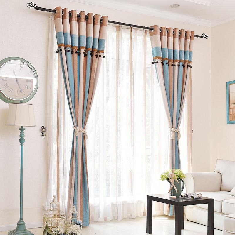 Fashion Stripe Rustic Curtain Yarn Bedroom Living Room: Curtains For Living Dining Room Bedroom Mediterranean Wind