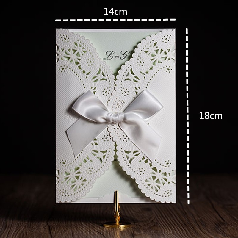 Lace Wedding Invitations Card Bowknot with Envelope & Seal DIY Blank ...