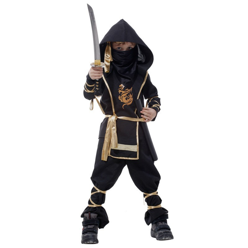 Umorden Halloween Kostymer Barn Gutt Barn Assassin Kung Fu Ninja Warrior Costume 7-Piece Set Cosplay Klær til Gutter