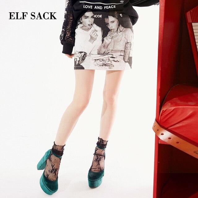 ELF SACK 2019 New Cotton Women Skirts Stylish Character Print Ladies Skirts A-Line Casual Femme Skirts Stylish Streetwear Bottom
