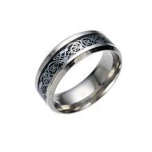 ¡Oferta! anillo Vintage de acero inoxidable con diseño de dragón y gota de oro para hombre, anillo de boda para hombre Z0321