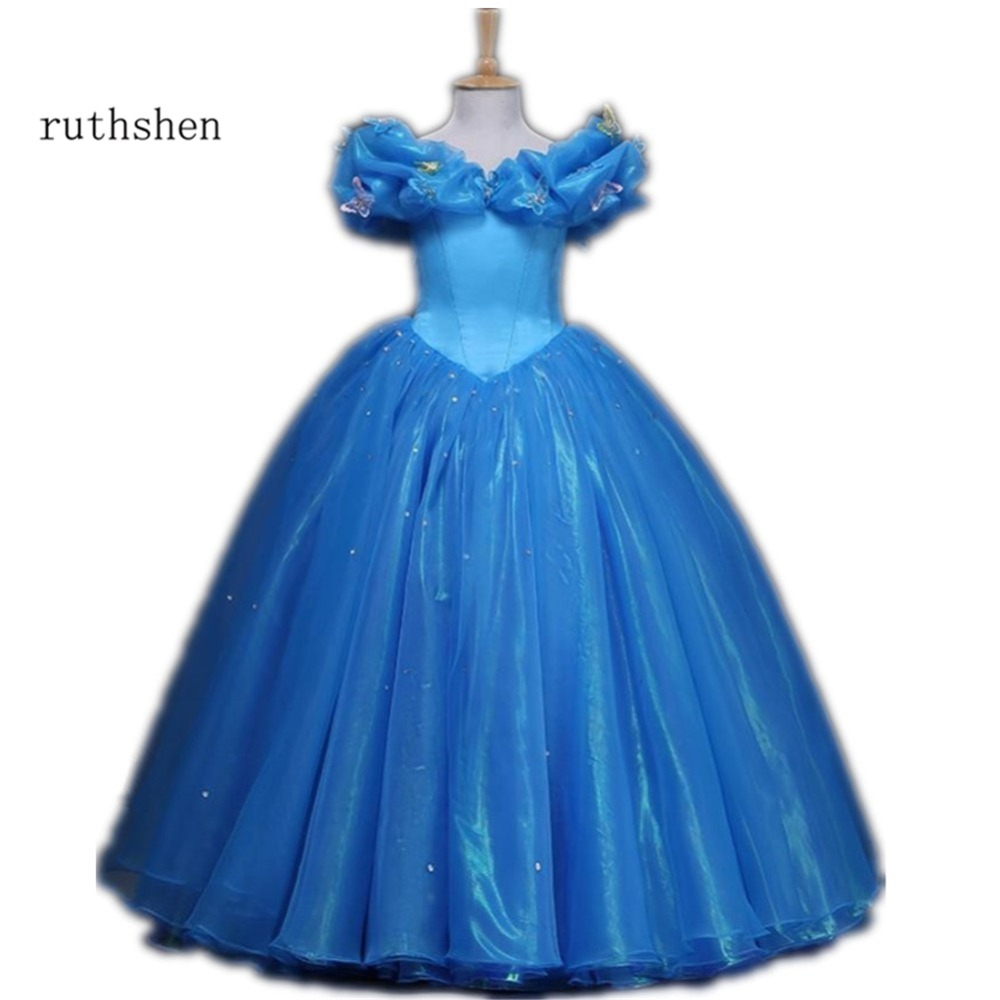 ruthshen Princess   Flower     Girl     Dresses   With Off The Shoulder Butterfly Sequins Ruched Tulle Blue Ball Gowns Cosplay Costume