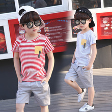Children's clothing boy summer 2017 new suit children summer children's clothing in the Korean children's short sleeve two-piece