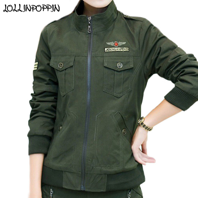 Women Military Army Green Jacket With Epaulets New 2018 Ladies Army Jackets  Embroidery Womens Casual Cargo Jacket 8b46e32e0
