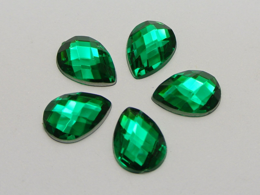 200 Mixed Color Acrylic Flatback TearDrop Rhinestone Gems 10X14mm No Hole