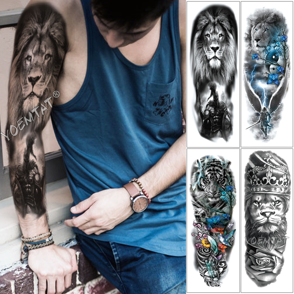 Large Arm Sleeve Tattoo Sketch Lion Tiger Waterproof Temporary Tattoo Sticker Crow Warrior Soldier Men Full Skull Totem Tattoo