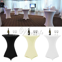 10Pcs/Lot 80cm White/Black/Ivory Cocktail Table Cover Lycra Spandex Stretch Tablecloth For Bar Bistro Wedding Party Event Decor
