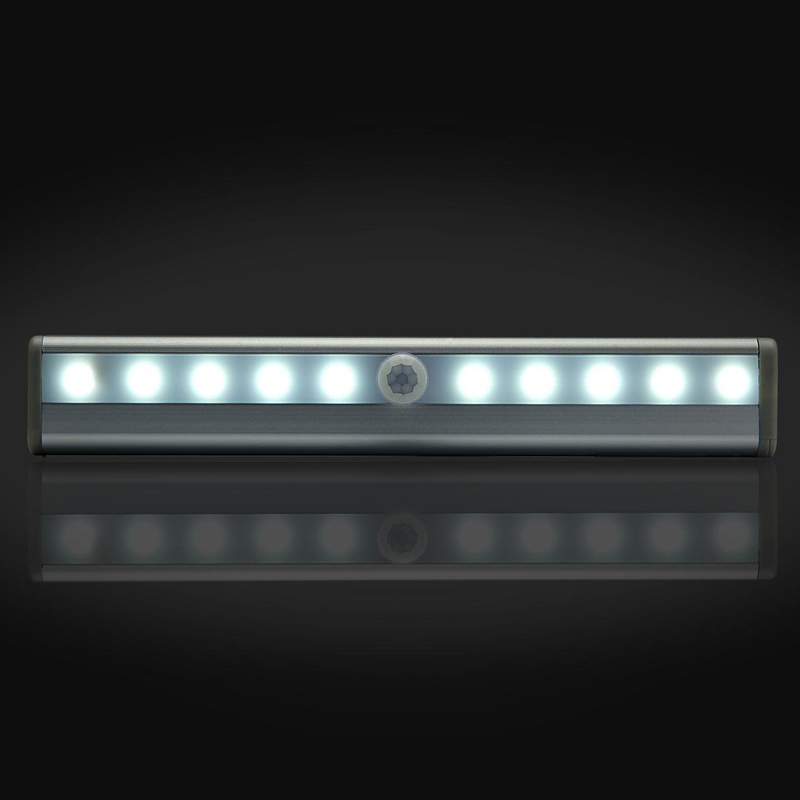LED Cabinet Light bar Rechargeable Wardrobe night light 10LED Motion sensor light for Stairs Pantry Counter 3 Mode Switch