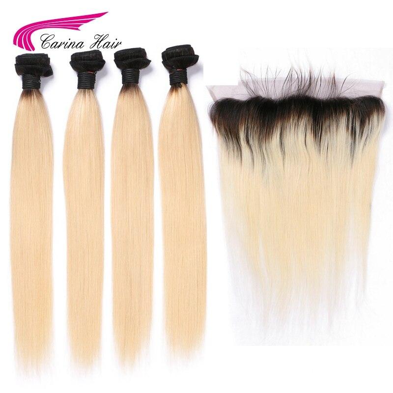 Carina 1b613 Couleur 4 Bundles avec Oreille à Oreille Frontale Péruvienne Remy Humains Cheveux Raides Ombre Blonde Cheveux avec 13*4 dentelle Frontale