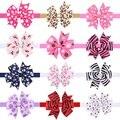 Girl printing ribbon Bow Headband Grosgrain Elastic Hair Bands For Newborn Infant Toddler Hair Accessories 10pcs HB529