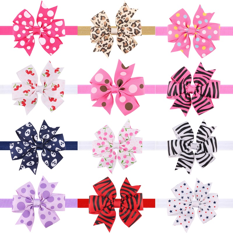 где купить Naturalwell Girl Printing Ribbon Bow Headband Grosgrain Elastic Hair Bands Newborn Girl Headbands Hair Accessories 10pcs HB529 по лучшей цене