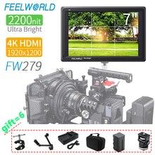Feelworld fw279 카메라 필드 dslr 모니터의 7 인치 4 k 모니터 nikon sony canon 용 full hd 1920x1200 4 k hdmi 고휘도
