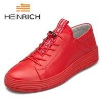 Генрих Новый Элитный бренд Мужская обувь Кожа Повседневное черная обувь Для мужчин s Демисезонный на шнуровке Для мужчин модные кроссовки