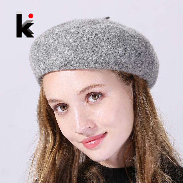 d4e4921c19879 2017 Autumn And Winter Beret Hat For Women Solid Wool Berets Cap Female  Causal Fashion Lady Streetwear Apple Hats Boina Feminina