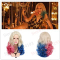 Two Colors Wavy Long Curly Synthetic Hair Dye Gradual change colors Suicide Squad Harley Quinn Cosplay Wig Heat Resistant Fiber