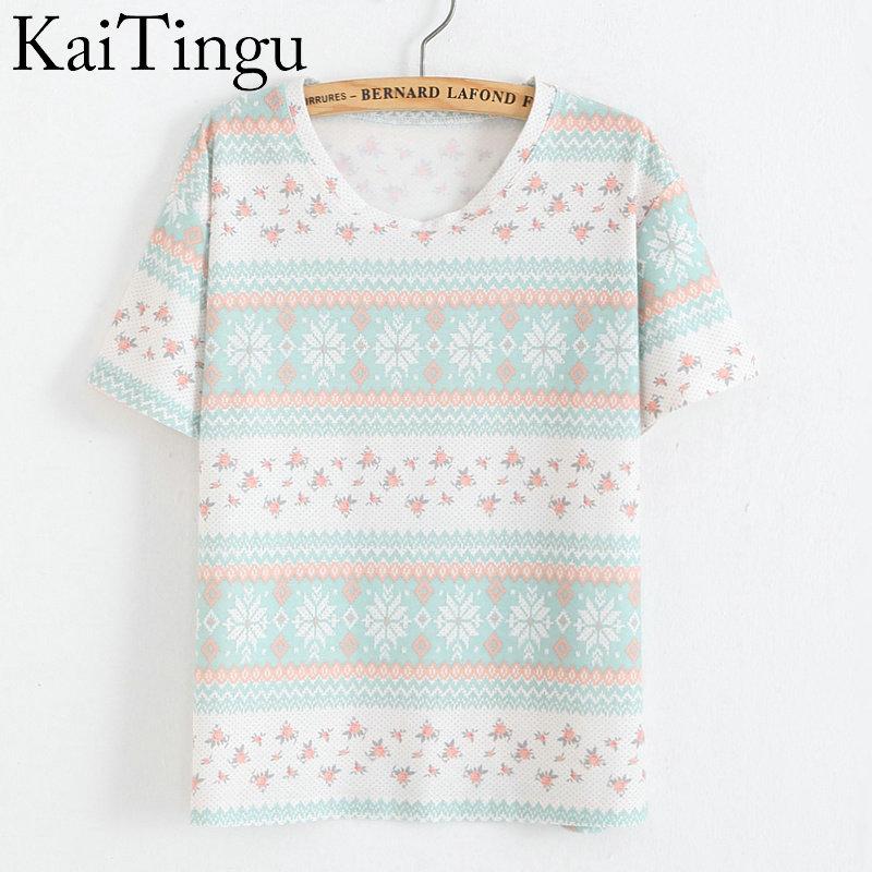 KaiTingu Brand 2016 New Fashion Vintage Summer Style Harajuku T Shirt Women Clothes Tops Emoji Funny Tee Shirts Geometry Print
