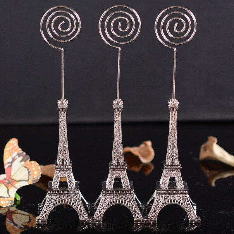 100pcs wedding Decoration 16.5cm Paris Eiffel Tower Brozen Place/Name/photo/Business Card Holder message board clip wholesale