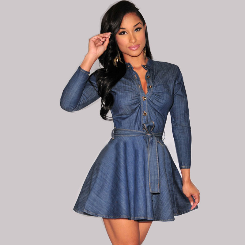 Summer Denim Dress Women Long Sleeve Bodycon Slim vintage Jeans Dress Plus Size V neck Sexy Party Office A Line Dress Vestidos