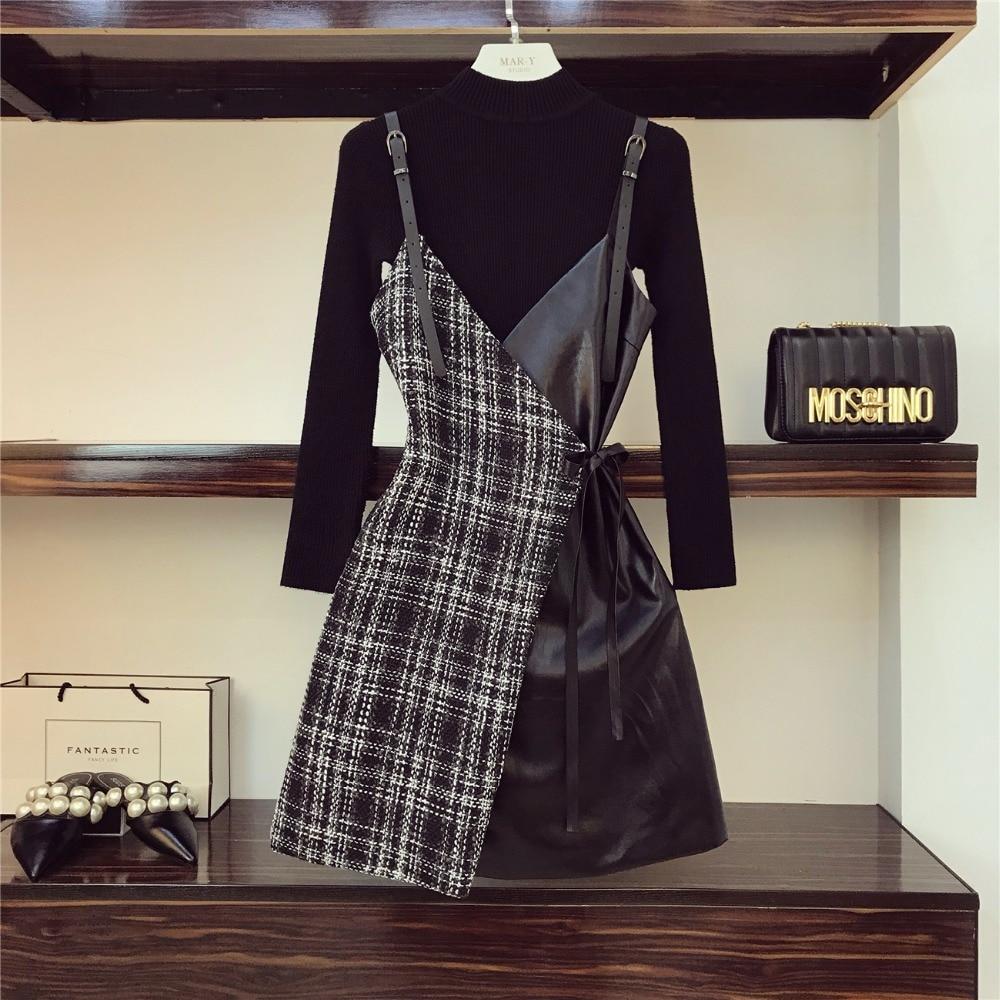 Pu noir Tweed Couleur Ensemble Pull Cuir Sexy Patchwork V Blanc Up Oshangchaopin Robe Vêtements Solide Mince Femmes Neck Chandails Court D'été Lace 0Ow8nkXP