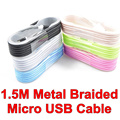 BrankBass 1.5M Metal Braided Micro USB Cable Sync Charger Cords for Samsung Galaxy S3 S4 I9500 For Smart Phone Tablet PC