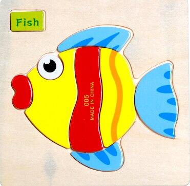 Деревянные милый рыбы медведь трехмерная головоломка Детские Рано Уроки Интеллект обычные детские игрушки 1 шт.